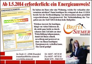 Ab 1.5.2014 Energieausweis nach EnEV2014 erforderlich!